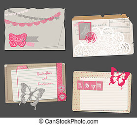 Set of Vintage Papers - for design or scrapbook - in vector