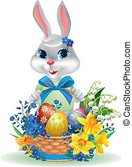 Easter bunny with basket of eggs. Contains transparent...