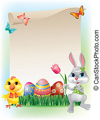 Easter background with bunny and chicken Contains...