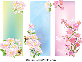 Vertical banners with a blossoming branch. Contains...