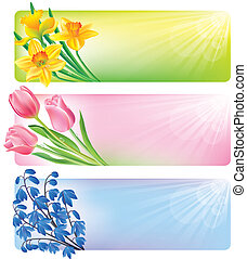 Horizontal spring banners of flowers. Contains transparent...