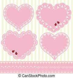 Set of Flower Frame Heart Shape Car