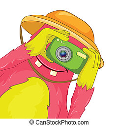 Funny Monster. Tourist Photographer. - Cartoon Character...