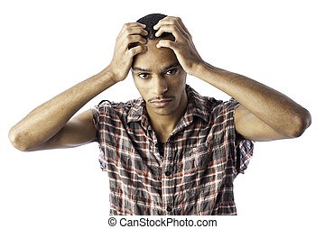 Young black male with headache - Isolated young african...