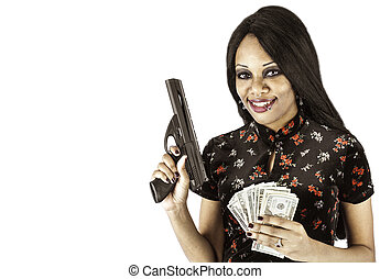 Sexy african american with gun and cash