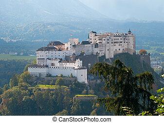 Salzburg, Austria - Hohensalzburg Fortress in Autumn,...