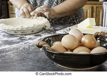 Old hands making pie crust - Interesting composition of...