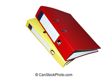 Binder Folders - Yellow and red Binder folders isolated over...