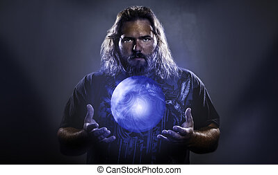 Man with hovering glowing orb - Long haired white male with...