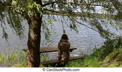 woman willow bench lake - woman girl sit on wood bench under...