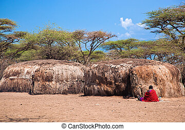 Maasai huts in their village in Tanzania, Africa - Maasai...