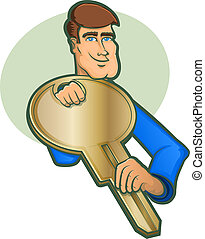 Locksmith Character Icon - Illustration of a Locksmith...