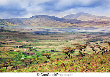 Savannah landscape in Tanzania, Africa. Maasai houses in the...