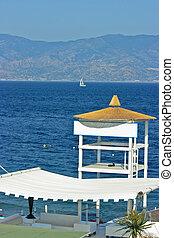 Beach detail - resque tower - Fancy lifeguard tower on a...