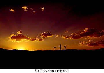 Easter Sunrise - Sun rising on three Christian crosses