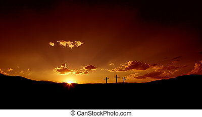 Easter Sunrise 2 - Sun rising on three Christian crosses.