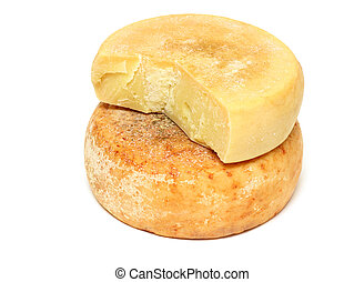 Peasant cheese - Two pieces of ripe peasant cheese in a...