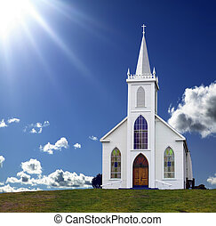Heavenly Light - Sun rays shining down on a small Christian...