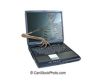 Skeleton Hacker - An image of a skeleton inside a computer...