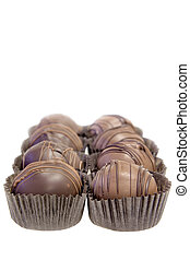 Rows of Chocolate Truffles with Paper Holders