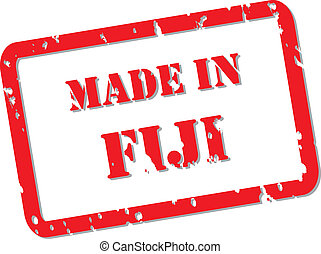 Fiji Stamp - Red rubber stamp vector of Made In Fiji
