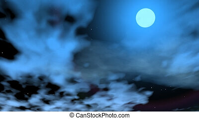 Romantic moon - 3D render - Beautiful full moon in dark sky...