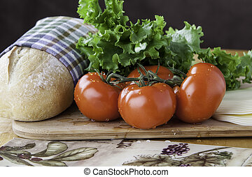 tomato with bread and cheese
