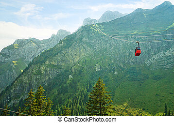 Funicular and Swiss Alps