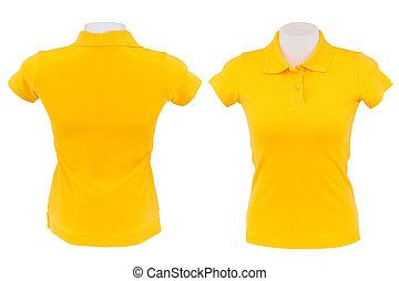 yellow polo shirt on white background
