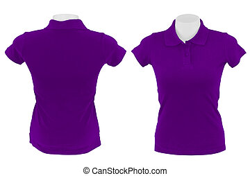 purple polo shirt on white background