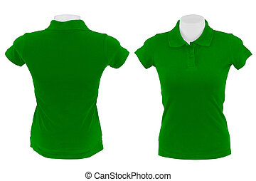 green polo shirt on white background