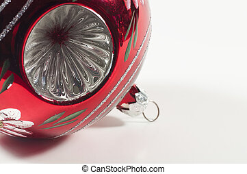 Red Ball - A red ball Christmas tree ornament with crinkled...