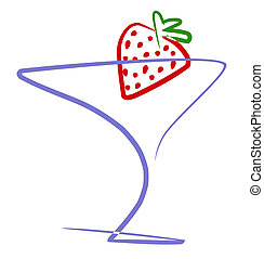 Cocktail with strawberry, illustration