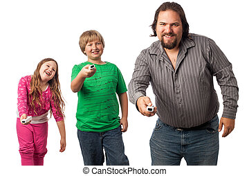 Family game time - Single dad with son and daughter isolated...