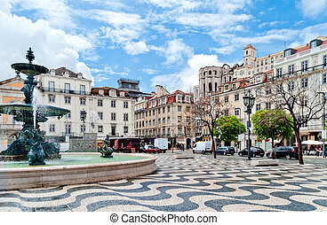 Fountain on Rossio Square in Lisbon, Portugal - Rossio...