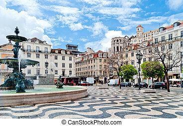 Fountain on Rossio Square in Lisbon, Portugal - Rossio...