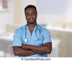 African american doctor with blue uniform