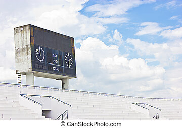 Old scoreboard and bleacher.