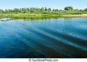 Volga river - Blue waves on the Volga river and the green...