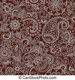 Henna Flower Seamless Pattern - Henna Paisley Flowers...