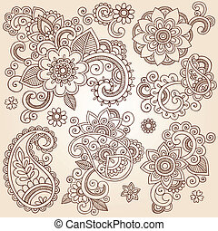 Henna Flower Tattoo Design Elements - Henna Paisley Flowers...