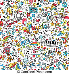 Music Instruments Doodle Pattern - Music Groovy Doodles...