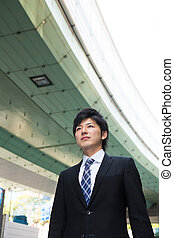 businessman and elevated road