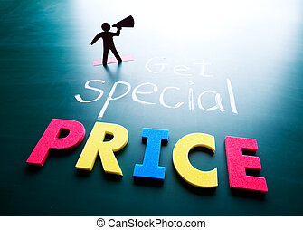 Get special price concept, man and words on blackboard