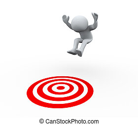 3d person target jump - 3d Illustration of man jumping on...