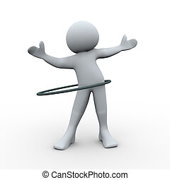 3d person plays hula hoop - 3d Illustration of man playing...