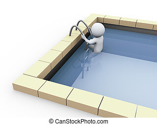 3d person in swimming pool