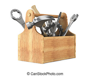 Wooden toolbox with tools Isolated 3D image