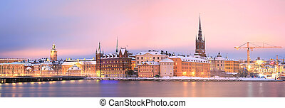 Stockholm Panorama - Panorama Cityscape of Gamla Stan Old...