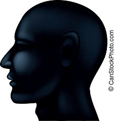 Human head silhouette - Vector illustration of human head...